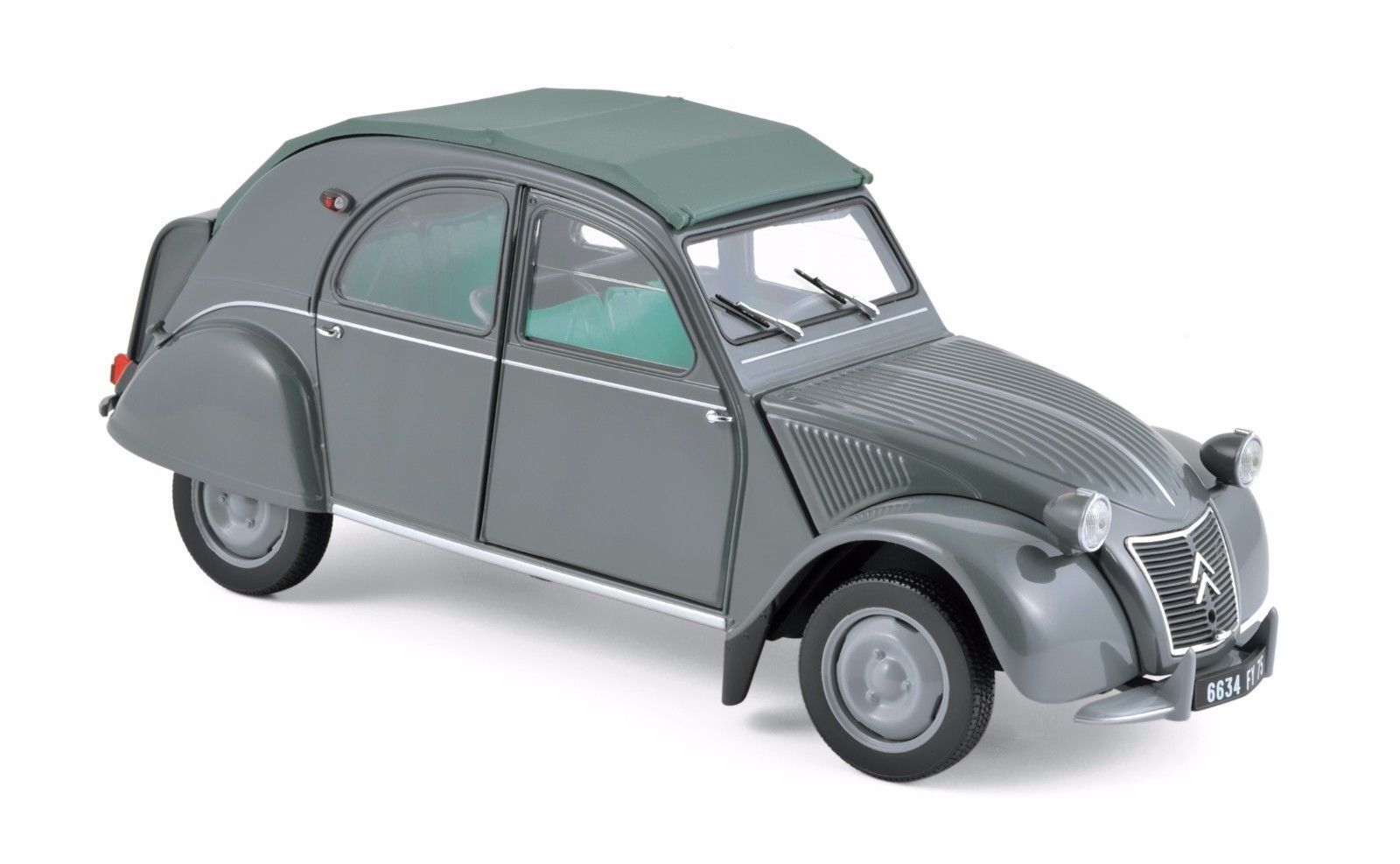 NOREV 1 18 AUTO DIE CAST CITROEN 2CV AZL MALLE BOMBEE 1957 gris     ART 181499
