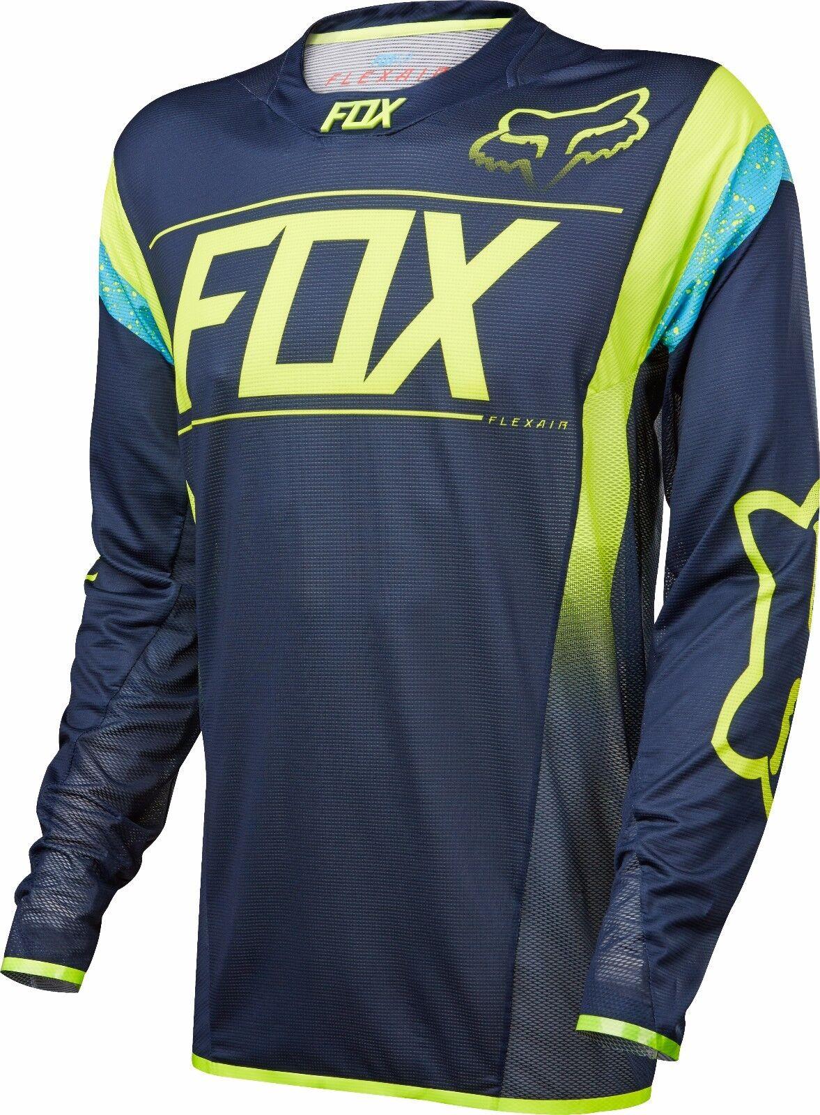 Fox Racing flexair DH manga L   s camiseta azul marino