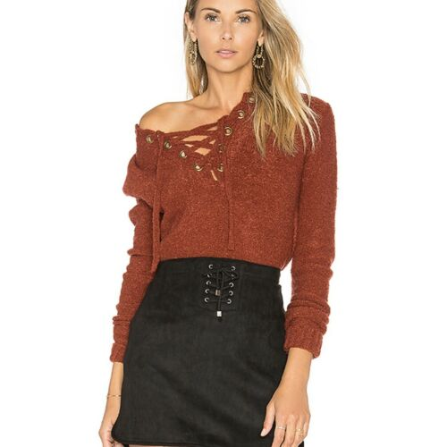 Lovers Friends Revolve Rocky Lace Up Sweater Small