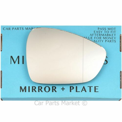 Right Driver Wide Angle Wing door mirror glass for Citroen C3 2010-2016 plate
