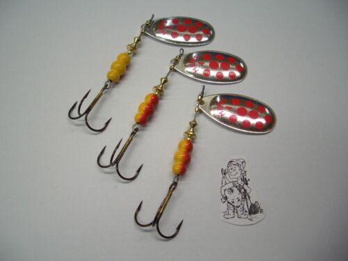 Gr 3 Stück Mepps Aglia Silber mit roten Punkten 4 9,5g  Angelköder Angelgerät