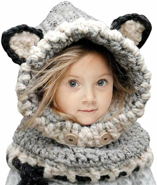 Kids Winter Hat Hooded Scarf Fox Hat Earflap Girls Baby Knit Woolen Caps Warm