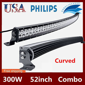 Curved-52-034-inch-300W-LED-Work-Light-Bar-Combo-Driving-Off-road-SUV-Car-Boat-SLIM