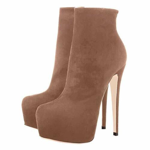 Details about  /New Womens Round Toe Platform High Stiletto Heel Zip Ankle Boots Shoes Stylish