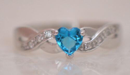 PRETTY HEART BLUE ZIRCON DECEMBER BIRTHSTONE RING GenuineSterling Silver Size 5