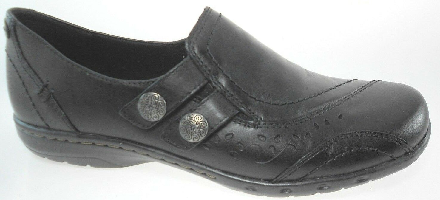 ROCKPORT PENNY-CH WOMEN'S BLACK LEATHER SLIP-ON SHOES, CAG34BK CAG34BK SHOES, $100. cea4f9