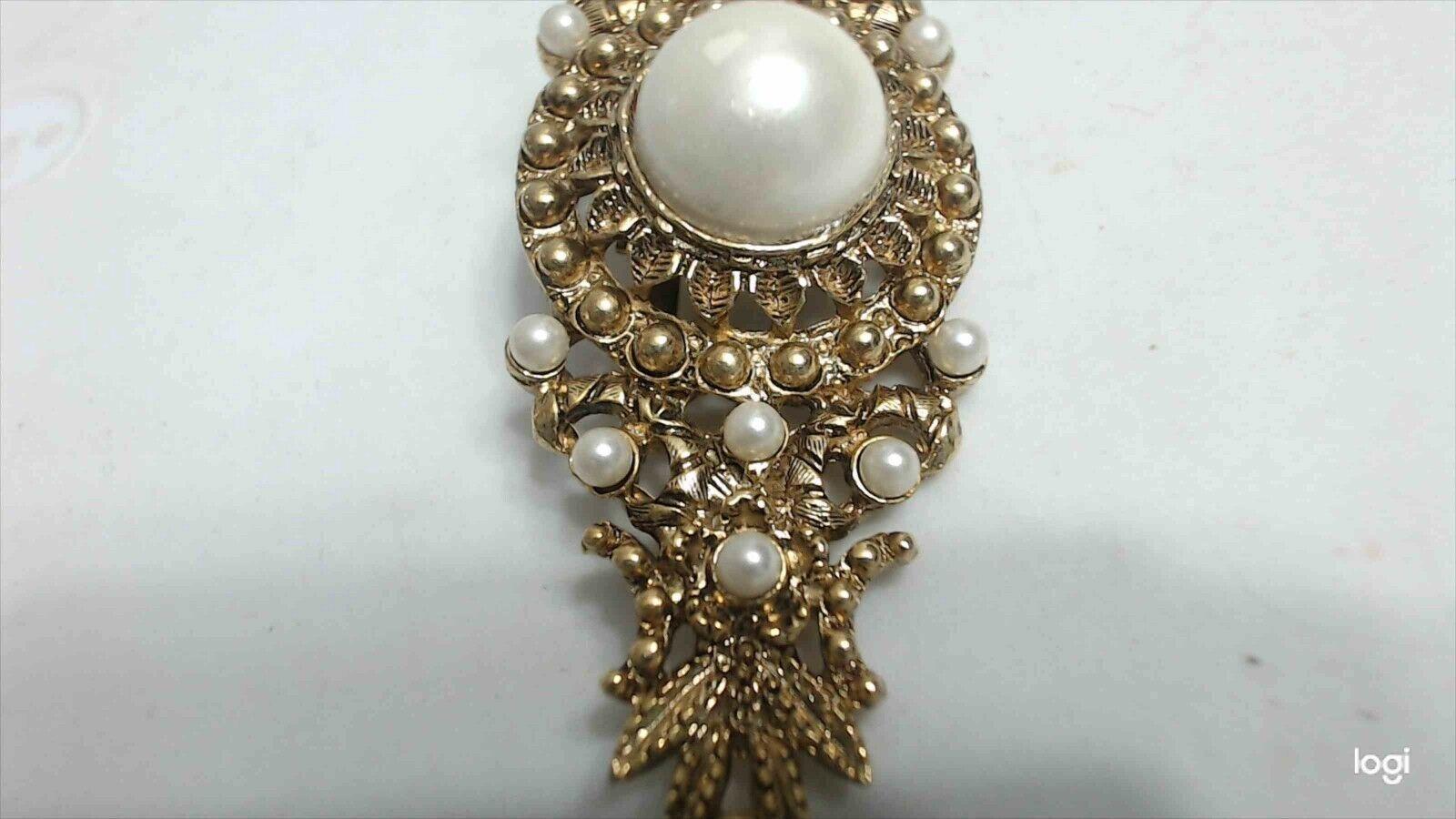 Vintage Baroque Gold Tone Faux Pearl Ornate Bar B… - image 3