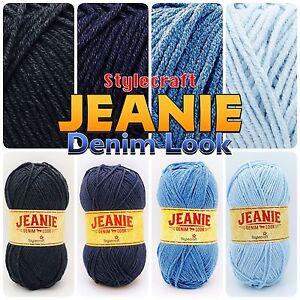 Stylecraft-JEANIE-Denim-Effect-Aran-Cotton-Acrylic-Knitting-Wool-Yarn-100g-Ball