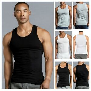 8a05106967389 3 6 Mens Black Tank Top 100% Cotton A-Shirt Wife Beater Ribbed Pack ...