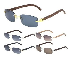 e235a87015d Image is loading LUXE-DEAN-SLIM-RIMLESS-RECTANGULAR-SUNGLASSES-METAL-WOOD-