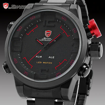 Genuine Shark Mens 3D Big Case Black Digital LED Date Day Sport Watch