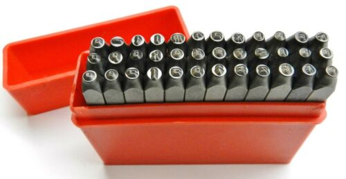 Lower Case Marking Stamps Hand Punches  3/32 Alphabet & Numbers Set of 36 Pcs