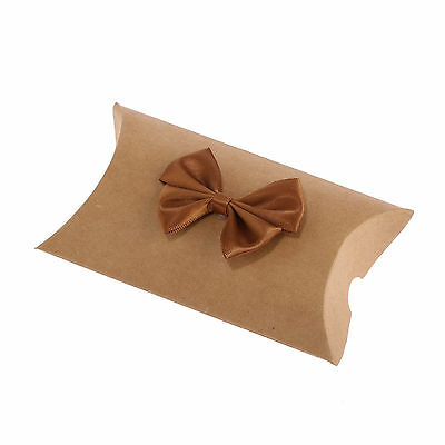 12 x Kraft Paper Pillow Box Gift Party Recyclable Quality with Bow 13cm x 8cm