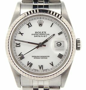 Rolex-Datejust-Mens-Stainless-Steel-amp-18K-White-Gold-w-white-Roman-Dial-16234
