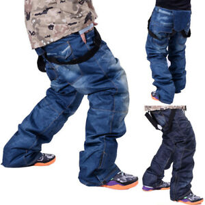 Men-039-s-Waterproof-Ski-Pants-Denim-Outdoor-Sports-Snowboard-Jeans-Trousers-Size