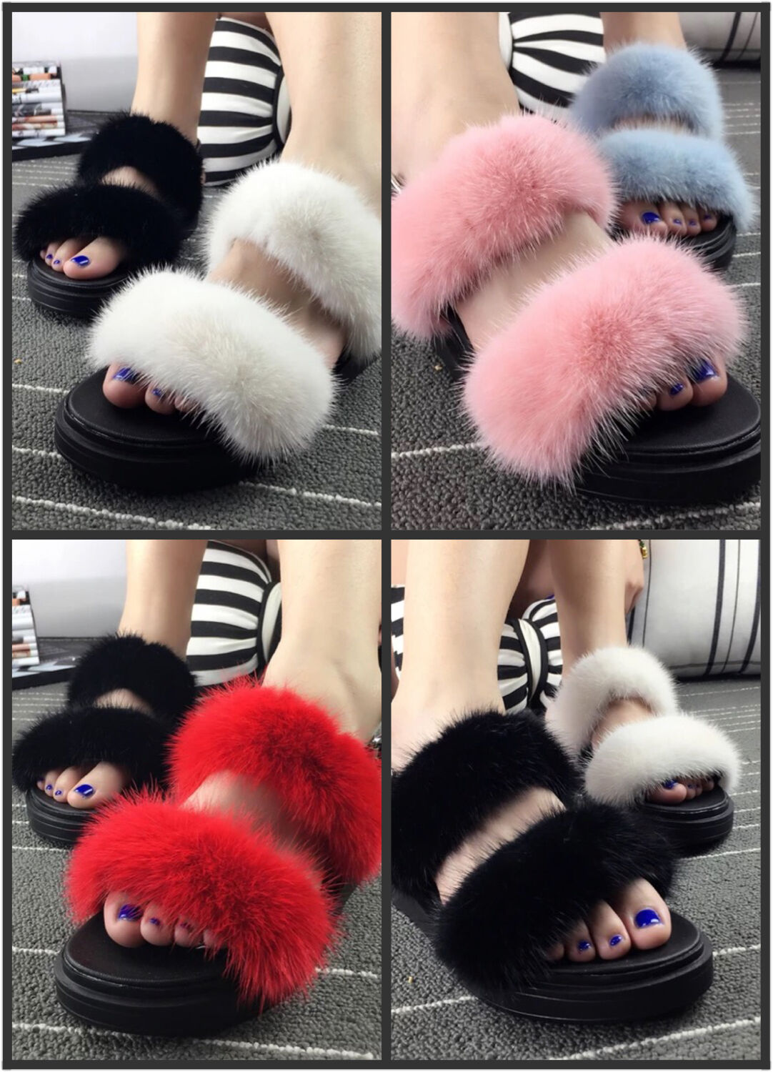 Woman Fashion Mink Fur Candy color Fluffy Sandals Summer Fall shoes