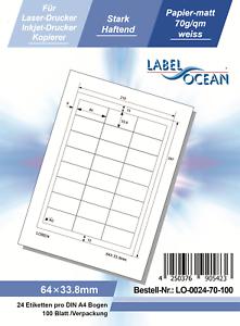Klebeetiketten DIN A4 weiß 64x33,8mm (Laser Inkjet Kopierer) 100 Blatt