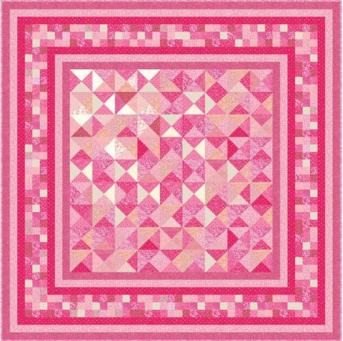 "THINK PINK 91"" QuiltAddicts Precut Patchwork Quilt Kit Queen"