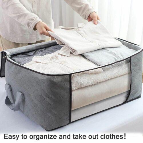 1 Stück Aufbewahrungstasche Faltbare Kleideraufbewahrung 84L Groß Lagerung Grau