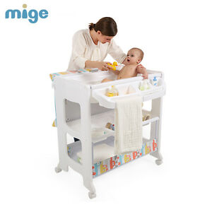 Details About Baby Changing Table With Bath Nursery Changer Unit Storage Station Toddler