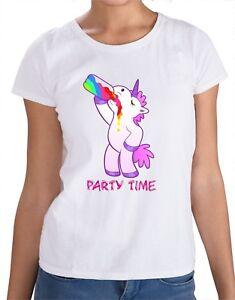 2ae47fbb Unicorn T-Shirt Party time drunk drink Pink Rainbow yolo tumblr ...