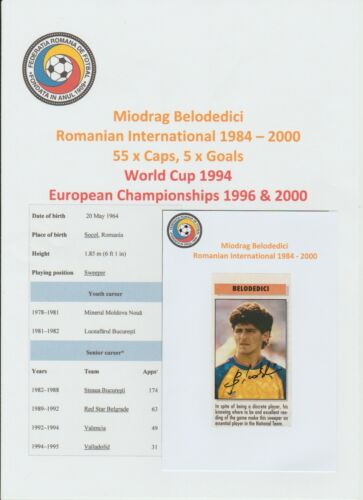MIODRAG BELODEDICI ROMANIAN INTERNATIONAL 198400 ORIG HAND SIGNED CUTTINGCARD