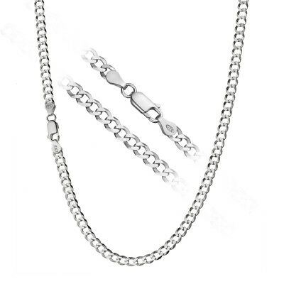 Solid 925 Sterling Silver Italian 1.2mm Cuban Curb Link Chain Necklace ALL SIZES