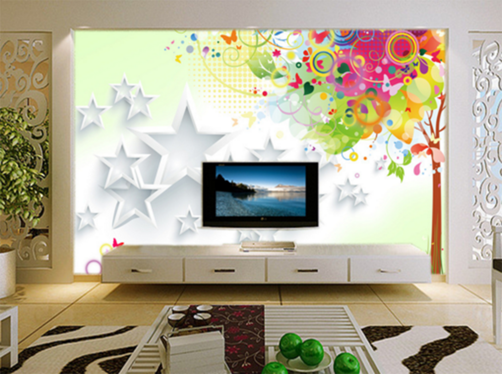 3D Weiß Star Frame Cartoon Paper Wall Print Wall Decal Wall Deco Indoor Murals