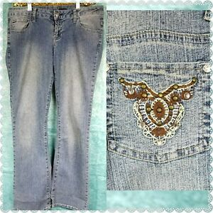 Mango-Jeans-Woman-039-s-Blue-Brown-Rhinestone-Pockets-Crystals-embellished-Sz-9-10