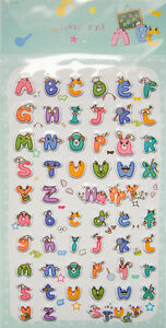 2 Sheets 3D Cute Letter Stickers for Scrapbook Cell phone.Party Favors Crafts