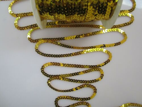 80 Meter GOLD Paillettenband  SPITZE Borte 4mm breit P006 PREISHIT ab 0,12€//m **