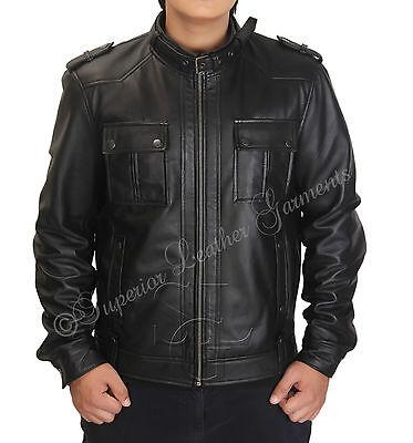 Slimfit Vintage Strap Pocket Dark Brown Biker Leather Jacket