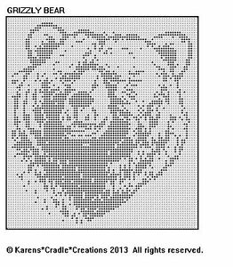 Details about GRIZZLY BEAR Filet Crochet Pattern