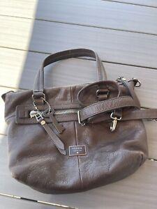 FOSSIL Brown Leather Dawson Satchel Handbag Crossbody Purse Pre-owned