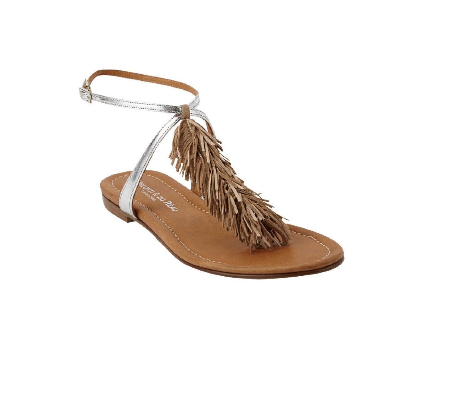 VISCONTI DU REAU - Sandales de luxe MAUI Beige et argent Valeur 280€ ! *NEUF*