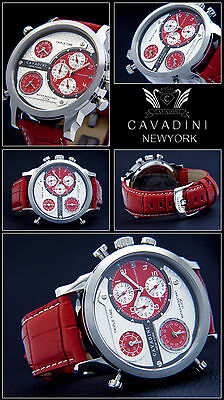 LUXUS TRIPEL TIME  -CAVADINI CHRONOGRAPH UHR  SERIE NEW YORK  IN ROT   NEU