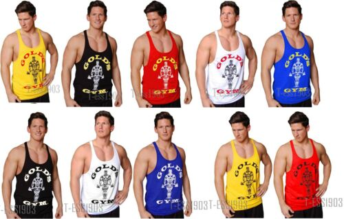 New Golds Gym Vest ✔S-XL Racerback Tank Top Bodybuilding Golds Zyzz Arnold