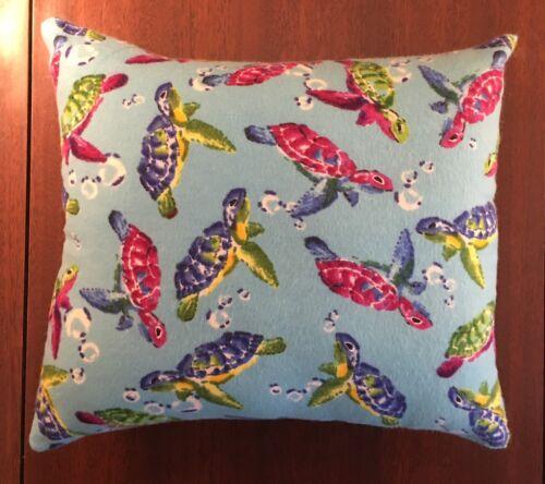 "Throw Pillow  10/"" x 9/"" Beautiful Handmade Fleece Sea Turtles Accent"