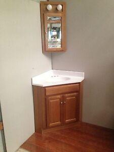 24x24 oak corner vanity cabinet w top med cabinet ebay