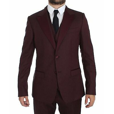 NWT $2800 DOLCE & GABBANA Bordeaux 3 Piece Slim Fit Suit Tuxedo EU50 / US40 / L
