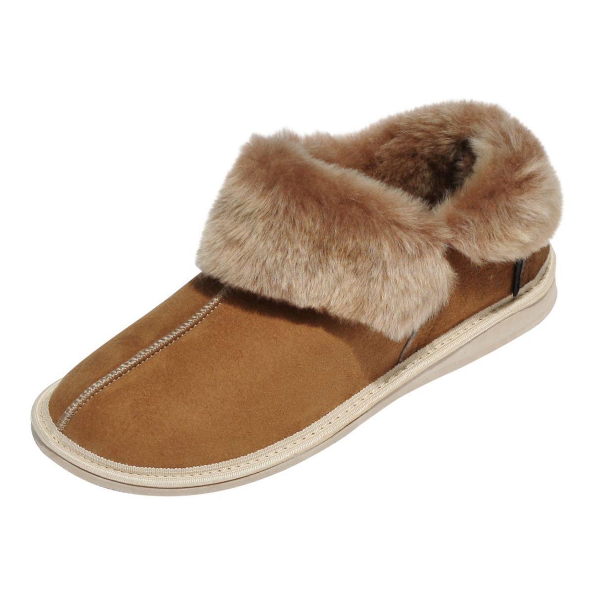 Pelle di pecora cuoio Pantofole Canada Donna   pelliccia cuoio pecora marrone 5a6c8f