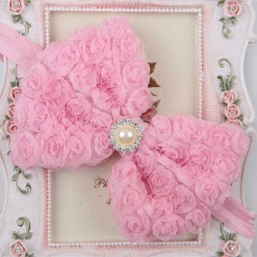 Newborn Baby Girl Kids Lace Flower Hair Bow Band Headband Headwear Accessory Lot