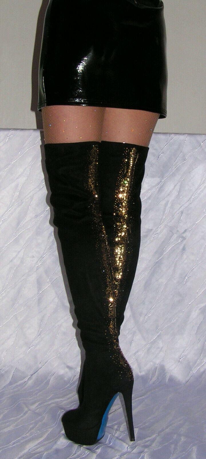 Damen Overknee Stiefel Stilettos Velvet Überknie Samt Plateau High Heel SCHWARZ