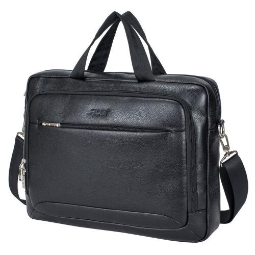 Men/'s Leather Waterproof Briefcase Work 15.6/'/' Laptop Handbag Shoulder Bag US