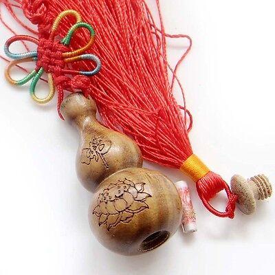 Sandalwood Tibet Buddhist Word Fo Lotus Gourd Sutra Amulet Pendant Car Hanging