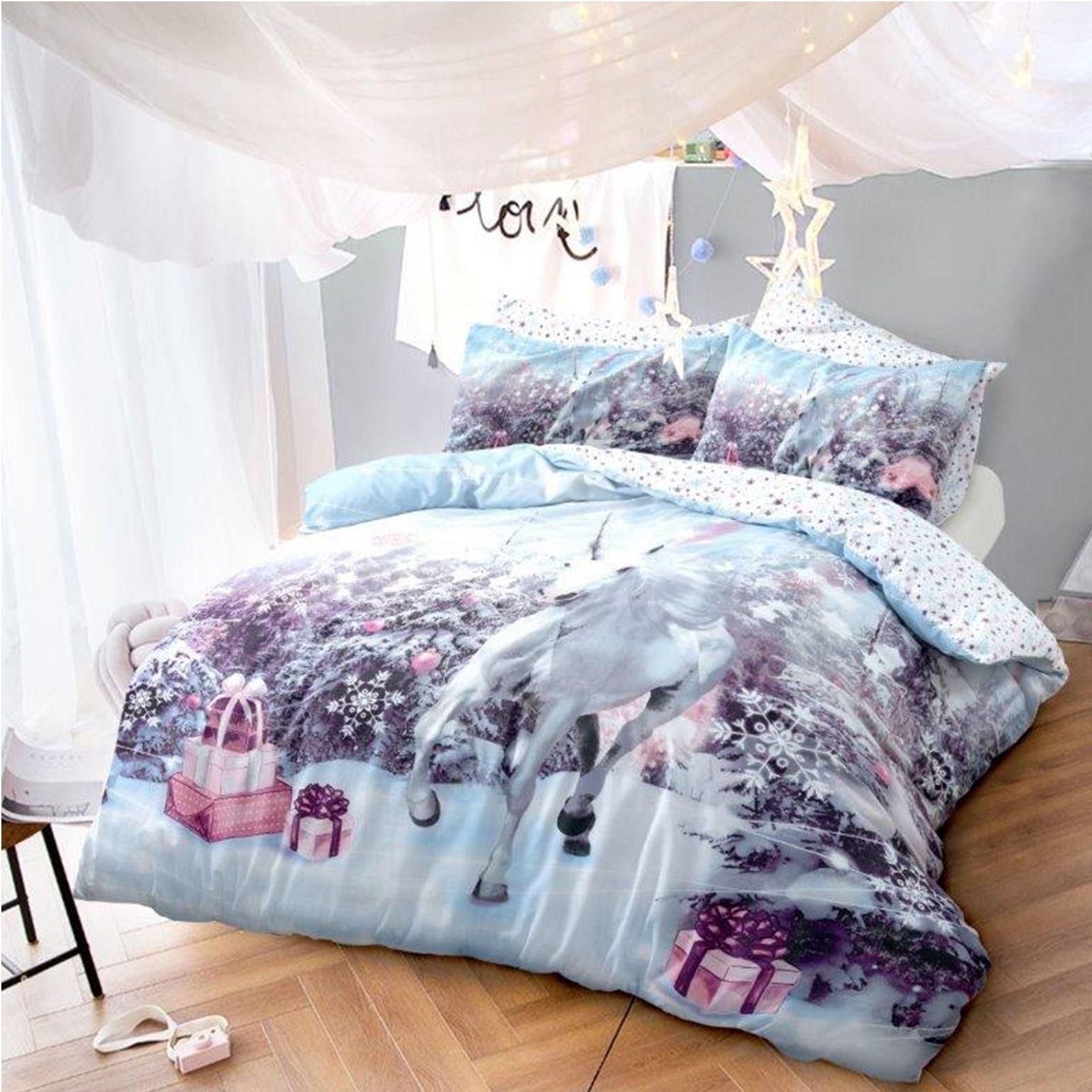 Luxus Unicorn Weihnachten Kinder Bettwäsche Set Bett Festliche Gesteppte Neu