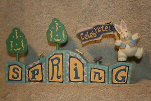 "Easter Midwest Wooden Blocks ""Celebrate Spring"" Bunny Rabbit & Trees 9"" Long"