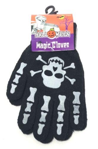 Halloween Magic Gloves Adults Kids Black Winter Skull Goth One Size Fancy Dress