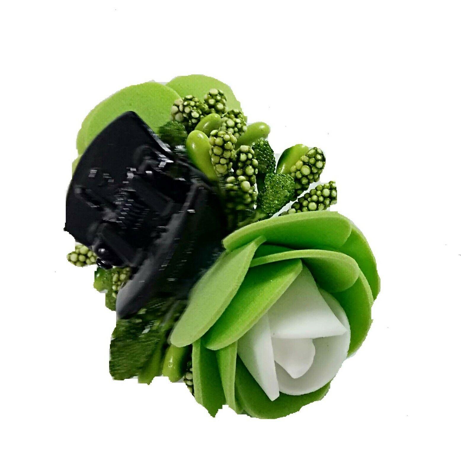 Ambika Designs hair clutcher green and white Hair Pin, Hair Clip