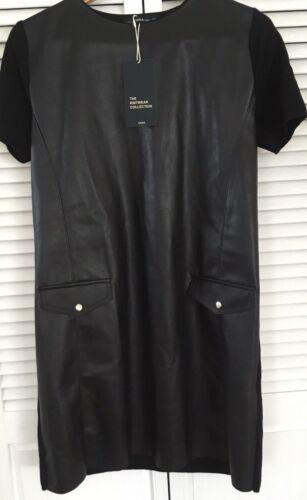 RT$45 Combination Pockets Dress Size M L ZARA Asymmetric Hem FAUX Leather New